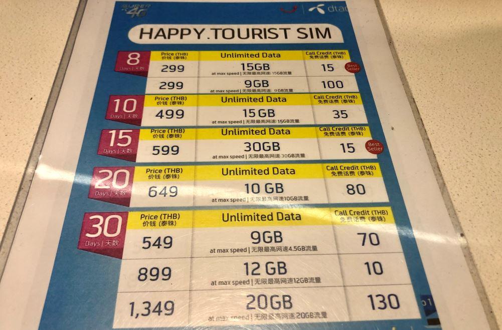 Bangkok Tipps, Preisübersicht lokale SIM-Karte