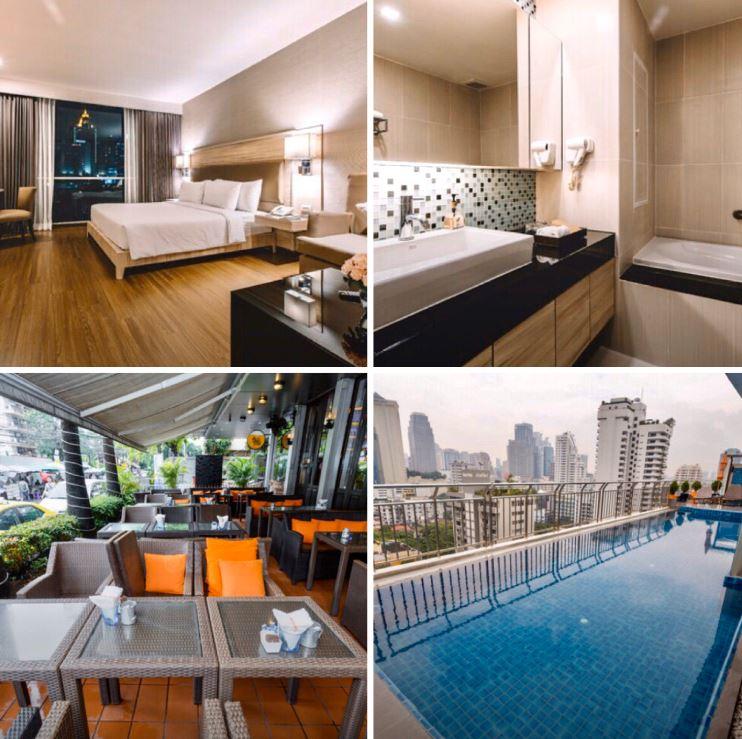 Verschiedene Ansichten des Hotels Adelphi Suites Bangkok