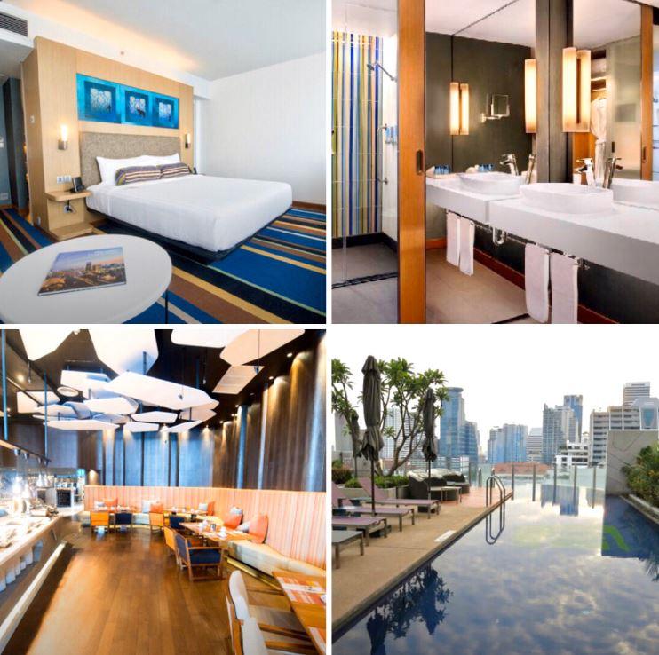 Verschiedene Ansichten des Hotels Aloft Bangkok