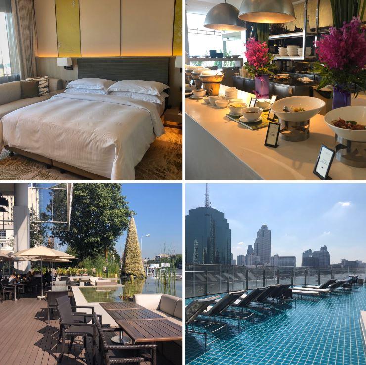 Verschiedene Ansichten des Hotels Millennium Hilton in Bangkok