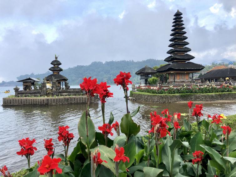 Bali Sehenswürdigkeiten, Wassertempel mit roten Blumen im Vordergrund