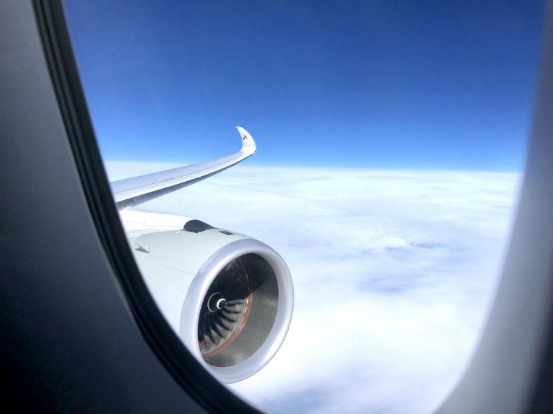 Sicht aus Flugzeugfenster