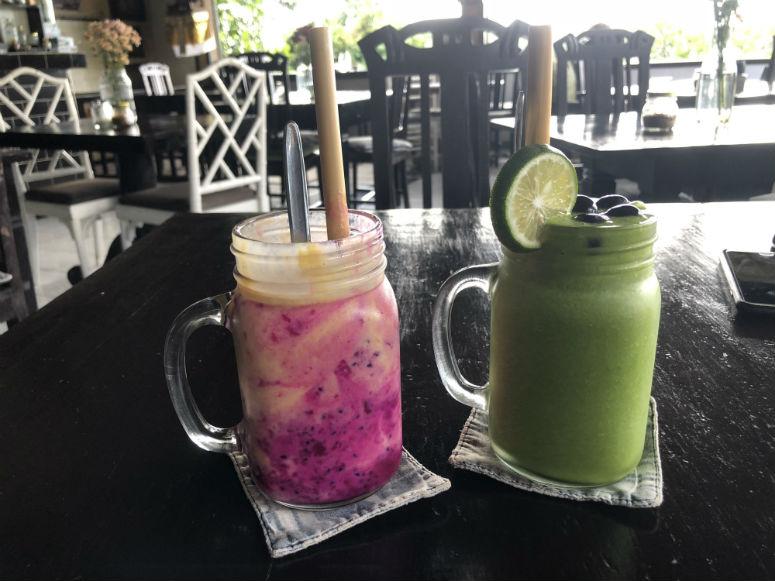 Bunte Smoothies im Restaurant The Elephant ubud