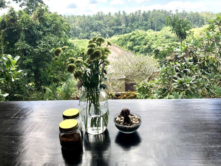 Restaurant mit schöner Aussicht auf grüne Felder in Ubud
