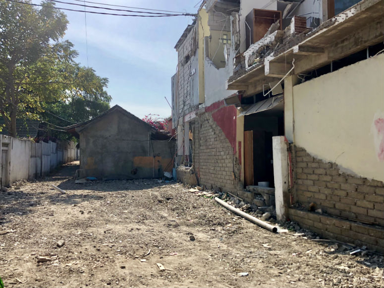 Zerstörtes Gebäude durch Gili Trawangan Erdbeben