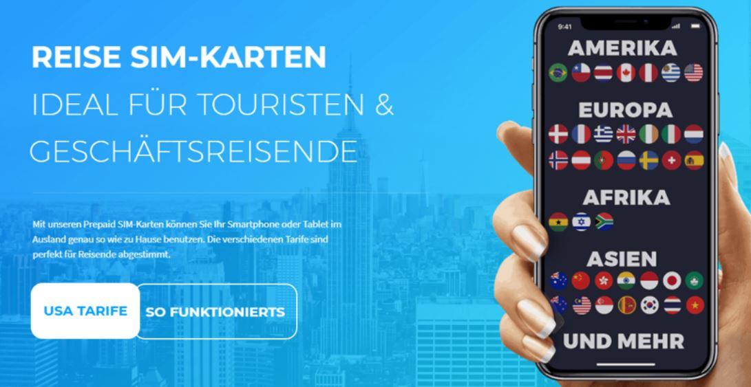 Optimale Reiseplanung, Werbebanner für SIM-Karten im Ausland