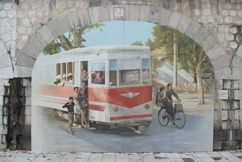 Bemalte Mauern in Hanoi