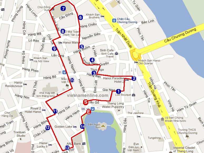 Straßenkarte mit eingezeichneter Route durch Hanoi