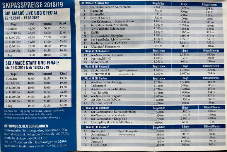 Foto Maria Alm Skigebiet Preise in Tabelle