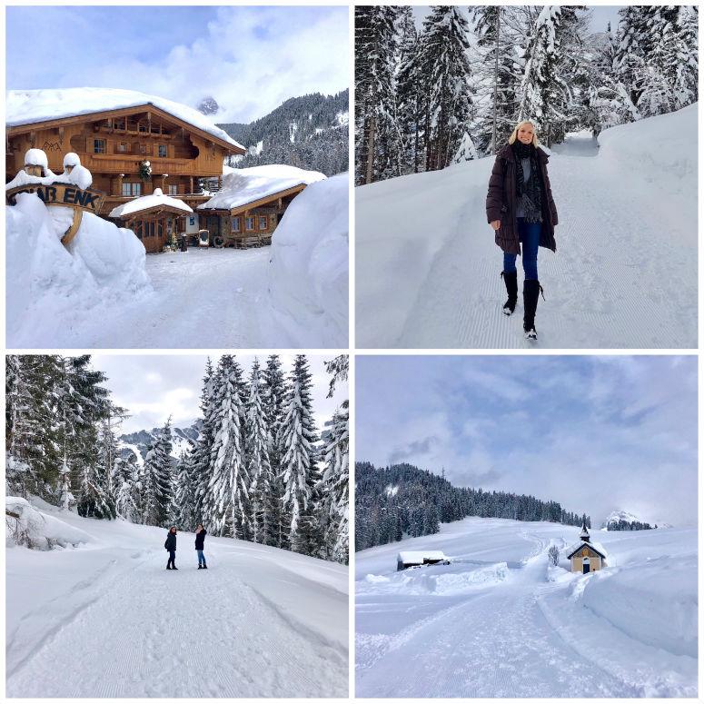 Schneewanderung, mit Schnee bedeckte Hütten und Bäume