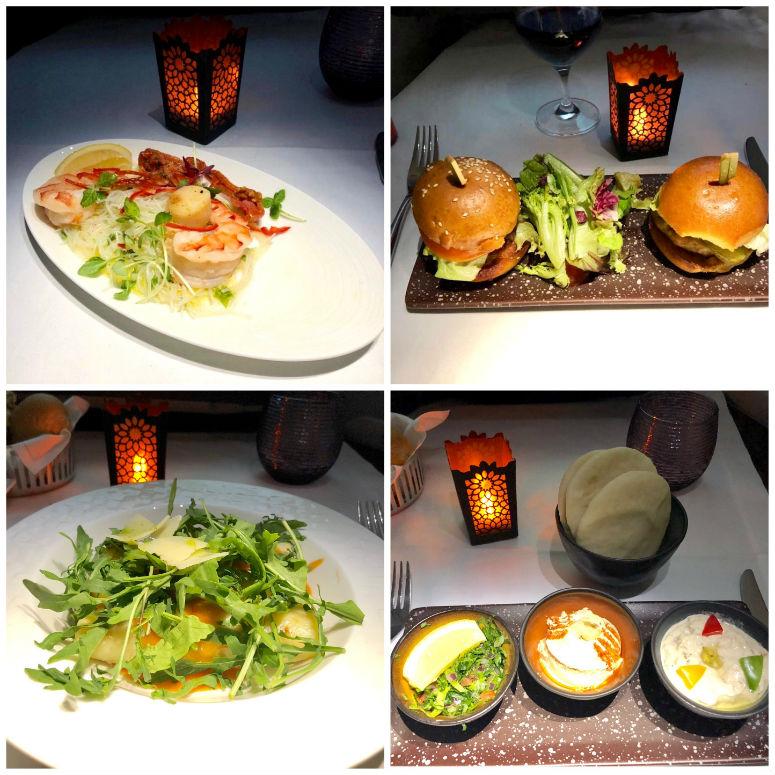 Verschiedenes Essen in der Qatar Business Class