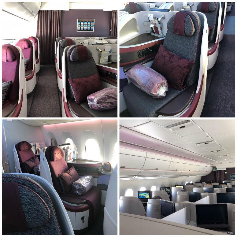 Bilder der Sitzplätze in der Qatar Business Class