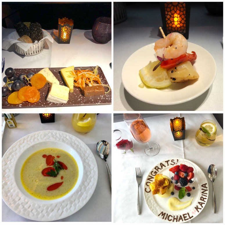 Verschiedenes Essen in der Qatar Airways Business Class