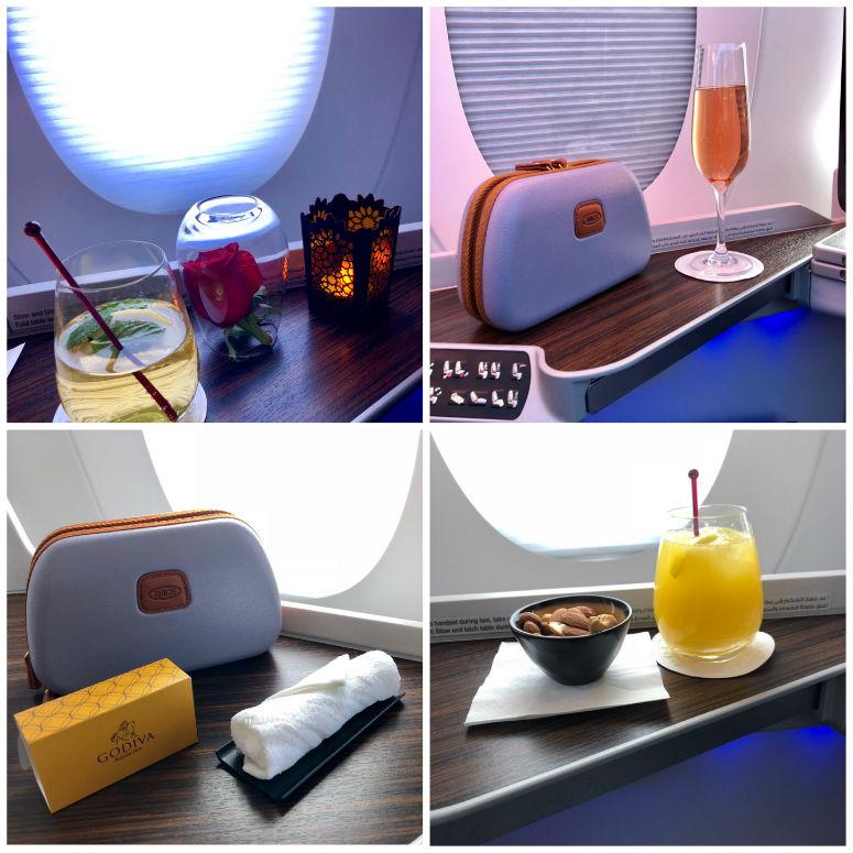 Collage mit Bildern der Annehmlichkeiten in der Qatar Airways Business Class