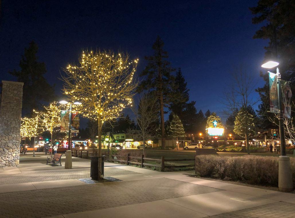 South Lake Tahoe, beleuchtete Bäume bei Nacht