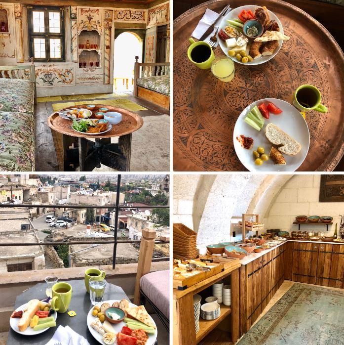 Henna Hotel Göreme, verschiedene Ansichten des Frühstücks