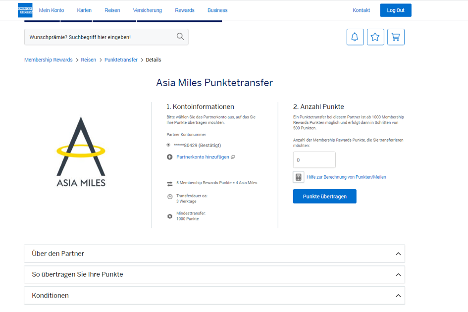 American Express Gold Card, Screenshot von dem Punktetransfer zu Asia Miles