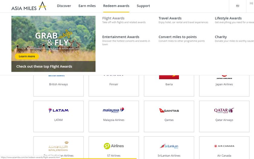Screenshot von Asia Miles, um die Airline auszuwählen