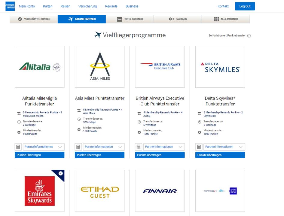 Ansicht der Amex Website und den Vielfliegerprogrammen