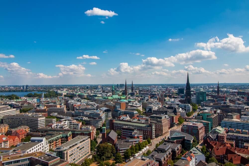 Aussicht über die Dächer von Hamburg
