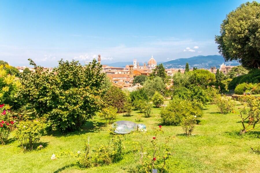 Aussicht über Florenz vom Rosengarten Giardino delle Rose