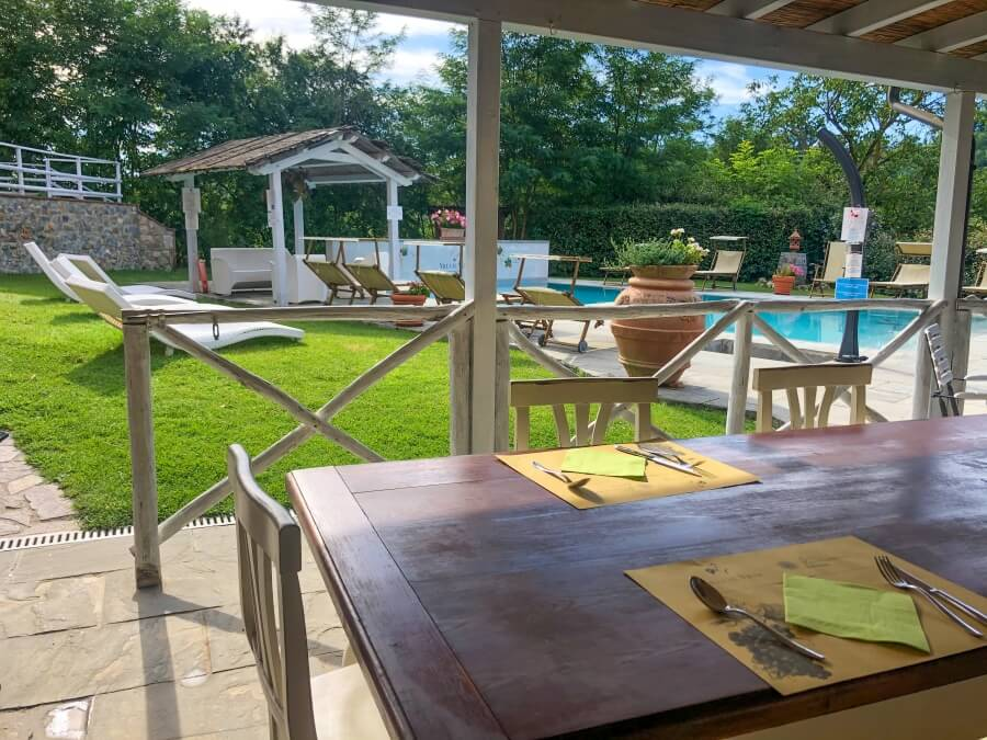 Agriturismo Villa Le Vigne, Frühstückstisch vor Pool