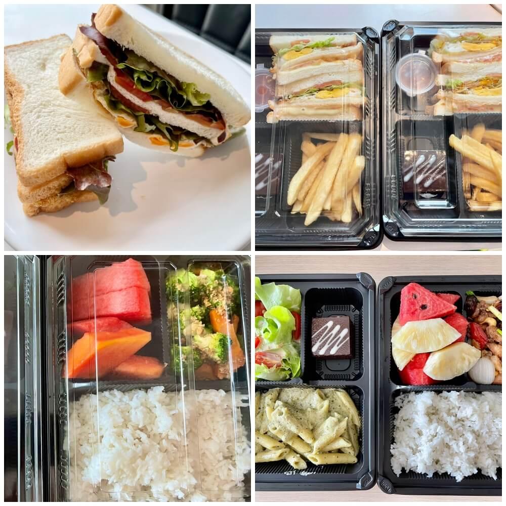 Verschiedene Mahlzeiten in einer Plastikbox
